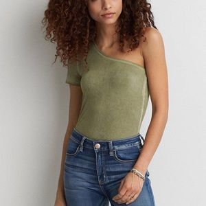 American Eagle Soft & Sexy One Shoulder Top Green